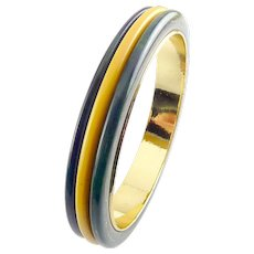 Bakelite 3-Color Laminated Marbled Navy Blue, Yellow, Green Bangle with Gold Metal Interior