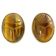 BalRon Large Carved Tiger's Eye Egyptian Scarab Gold-Filled Earrings