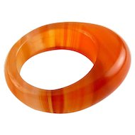 Carved Banded Orange Agate Ring, Pointed Front, Size 7 1/2