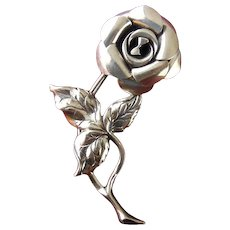 BEAU Sterling Silver 3-D Rose Pin, Full Blossom
