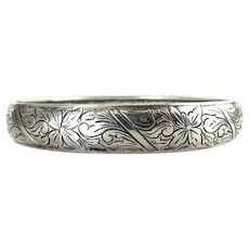BEAU 1940's Sterling Silver Wide Bangle with Diagonal Floral Bands