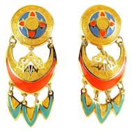 Edgar Berebi 3-Tier Enameled Earrings - Gold, Blue, Orange Red, Aqua