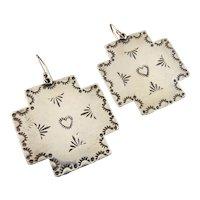 Native American Sterling Silver Cross Dangle Earrings, Betty Tramas, Sanet