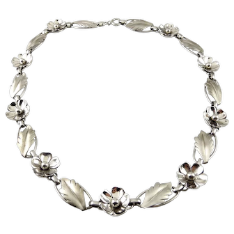 Retro Flower Chain Necklace, Satin Leaves & Polished Blossoms, Harry S Bick, Bick's