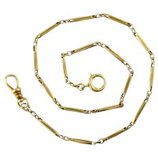 Antique 14K Gold Pocket Watch Chain, Long Novelty Links, Carabiner & Spring Ring, 9.7 Grams