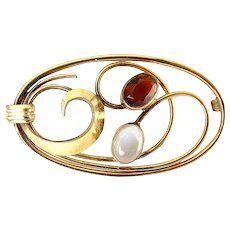 Binder Brothers Gold-Filled Modernist Brooch Pin with Moonstone & Citrine