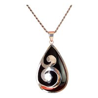 Large Black Resin Teardrop & Sterling Silver Pendant Necklace, Silver Scrolls Overlay & Bezel Mounting