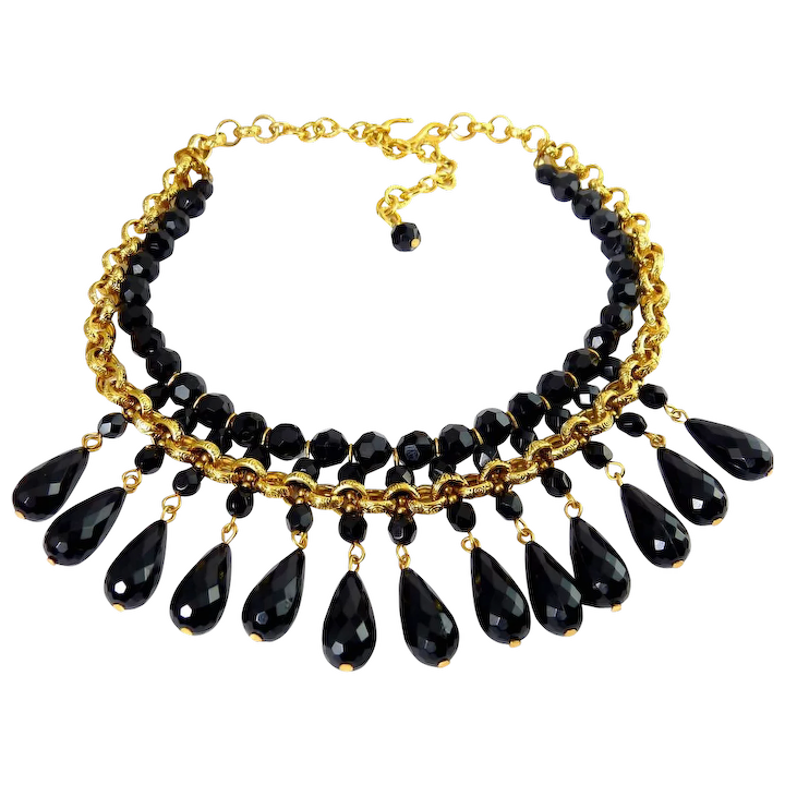 aed1058d96616b Victorian Style Black Teardrops on Gold Plated Chain & Bead Necklace : Venus  Vintage Jewelry | Ruby Lane