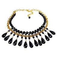 Victorian Style Black Teardrops on Gold Plated Chain & Bead Necklace Choker, Adjustable