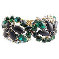 1960's Emerald Green, Black Satin & Aurora Borealis Rhinestones Wide Clamper Bracelet