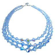 Blue Aurora Borealis Graduated Beads 3-Strand Necklace, 24+ Inches