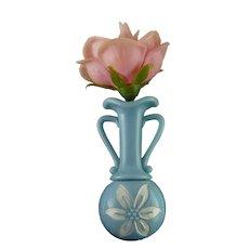 1950's Light Blue Plastic Bulb Vase Pin, Watertight, Removable Rose, Boutonniere Lapel