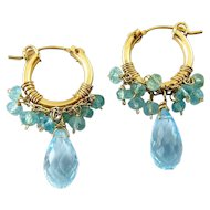Gold-Filled Hoop Earrings with Blue Topaz Briolette Drops and Aqua Glass Beads
