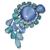 1960's Large Blue & Aqua Opaline Cabochon Rhinestones Paisley Brooch Pin