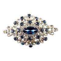 Vintage Sapphire Blue & Clear Rhinestones Brooch Pin, Wide Domed Diamond Shape