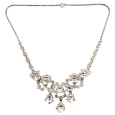 Bogoff Crystal Rhinestones Floral Theme Necklace with Large Rhinestone Drops - Excellent, Unworn Cond.