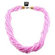 Vintage Bohemian Pink Glass Slant-Cut Beads 8-Strand Necklace, Torsade, w/Tag