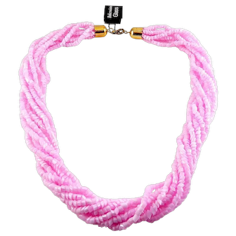 Vintage Bohemian Pink Glass Slant-Cut Beads 8-Strand Necklace, Torsade, New/Old Stock w/Tag