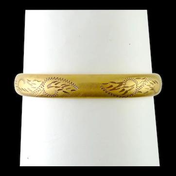 1960's Bojar Gold-Filled Hinge Bangle Bracelet, Engraved Front, Florentine Finish, Can Be Engraved