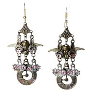 Victorian Style Enameled Brass Charms Dangle Earrings- Angels, Flower Baskets, Clocks