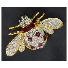 Large Bumblebee Rhinestone Pave' Brooch Pin, Square Ruby Crystals, Emerald Crystal Eyes, Bumble Bee
