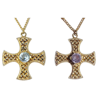 "Scottish Gold-Plated Cross with Faux Alexandrite Stone, 24"" Necklace, Signed CJ Scotland"