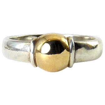 Sterling Silver & 14K Yellow Gold Cape Cod Half Ball Ring, Sz. 7 1/2
