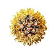 1960's CARVEN of Paris Flower Golden Sunburst Pin, Sapphire Blue & Crystal Rhinestones