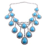Cascading Bib Necklace of Faux Turquoise and Rhinestones - Big Statement Piece
