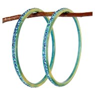 1920's Blue & Yellow Celluloid Bangles with Blue Rhinestones