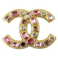 CHANEL Gold-Plated CC Logo Pin with Multi Pink Stones, Orig. Case & Box