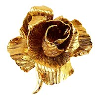 Christian Dior 3-D Gold-Plated Rose Brooch Pin, 1960s Germany, Full Bloom, Signed Designer
