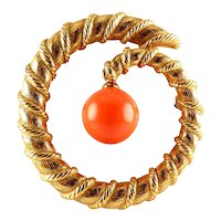 CINER Gold Plated Spiral or Coil Pin with Removable Coral Glass Bead, 2 Looks in 1