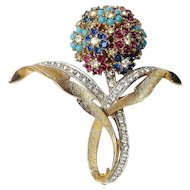 CINER Flower Cluster Brooch Pin with Ruby, Sapphire and Turquoise Rhinestones