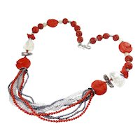 One-of-a-Kind Bead Necklace, Cinnabar, Crystal Quartz, Black Pearl, Coral & Sterling - Carved Fish, Frog, Rabbit, OOAK