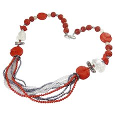 Dramatic Bead Necklace, Cinnabar, Crystal Quartz, Black Pearl, Coral & Sterling - Carved Fish, Frog, Rabbit, OOAK