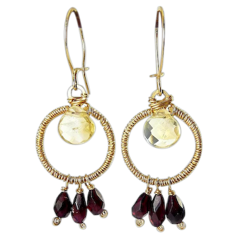 Gold-Filled Hoop Earrings with Citrine and Red Garnet Briolette Drops