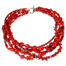 Red Coral, Cinnabar, Carnelian & Sterling Silver 5 Strand Necklace, Variety of Beads, Toggle Clasp
