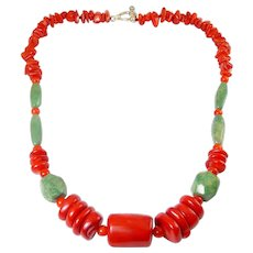 Red Coral & Green Turquoise Beads Necklace, Sterling Toggle Clasp
