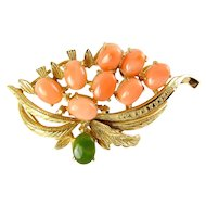 Vintage Gold-Plated Genuine Coral & Jade Cabochons in Flower Spray Brooch Pin