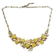 1950's Coro Yellow Flowers with Enamle Leaves & Rhinestones Necklace, Adjustable