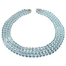 Vintage 3-Strand Crystal Quartz Faceted Beads Necklace, Sterling Clasp, Rock Crystal