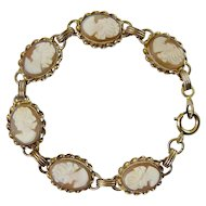 Gold Filled Shell Cameo Bracelet, 6  Carvings in Spiral Ribbon Frames