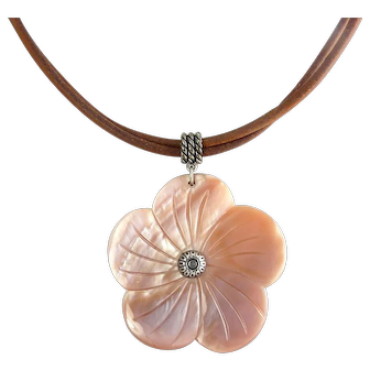 Carolyn Pollack  Relios Pink Abalone Shell Pendant with Sterling Silver Accents, Adj. Suede Cord Necklace