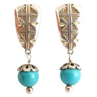 Carolyn Pollack Sterling Silver & Turquoise Bead Drop Earrings, Clip On