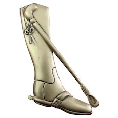 DANECRAFT Sterling Silver Horse Riding Boot & Crop Pin, Equestrian
