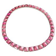 Art Deco Bright Pink Square Faceted Crystals Riviere Line Necklace