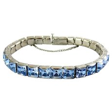 Art Deco Line Eternity Bracelet with Square Blue Crystal Rhinestones