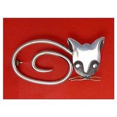Delfina Mexico Sterling Silver Modernist Cat Pin