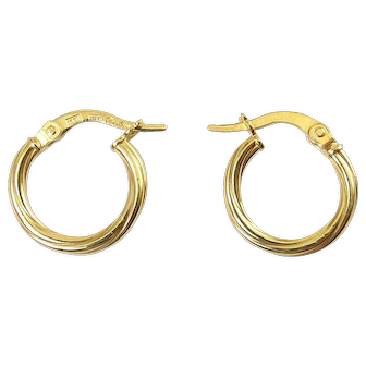 14K Yellow Gold Twisted Hoop Earrings, Italy, Pierced